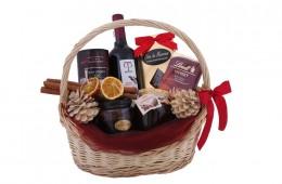 Zestaw świąteczny nr 63 Kosz z czerwonym winem