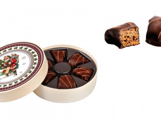 Nr kat 0600 Bomboniera drewniana z 6 pierniczkami w czekoladzie deserowej